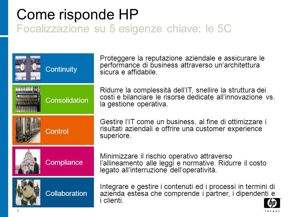 8 Come risponde HP Focalizzazione su 5 esigenze chiave: le 5C Ridurre la complessità dellIT, snellire la struttura dei costi e bilanciare le risorse d