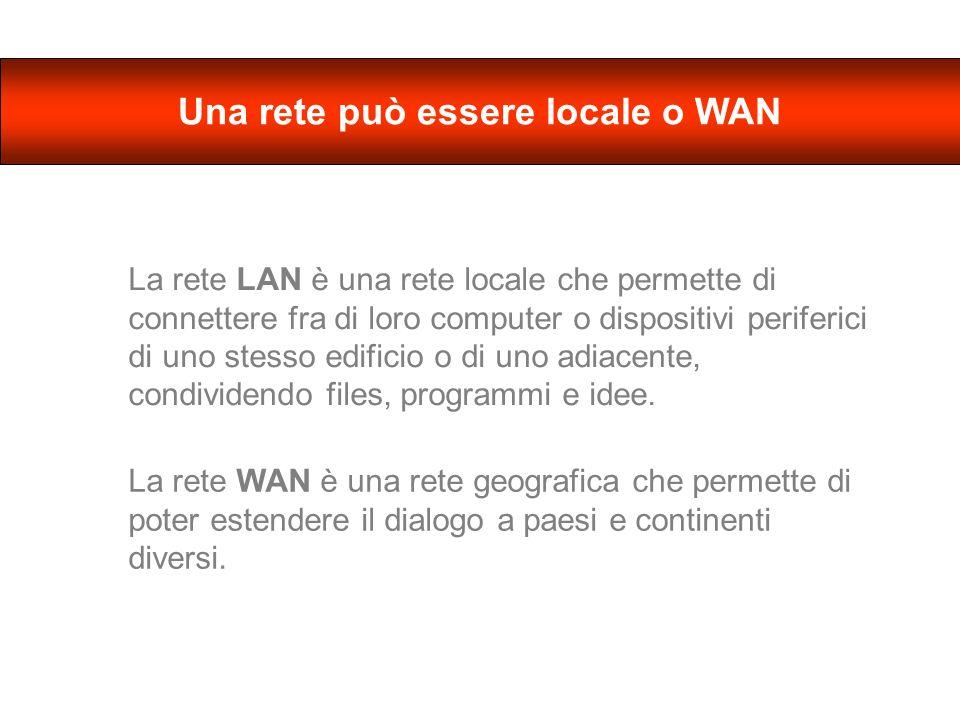 La rete LAN è una rete locale che permette di connettere fra di loro computer o dispositivi periferici di uno stesso edificio o di uno adiacente, condividendo files, programmi e idee.