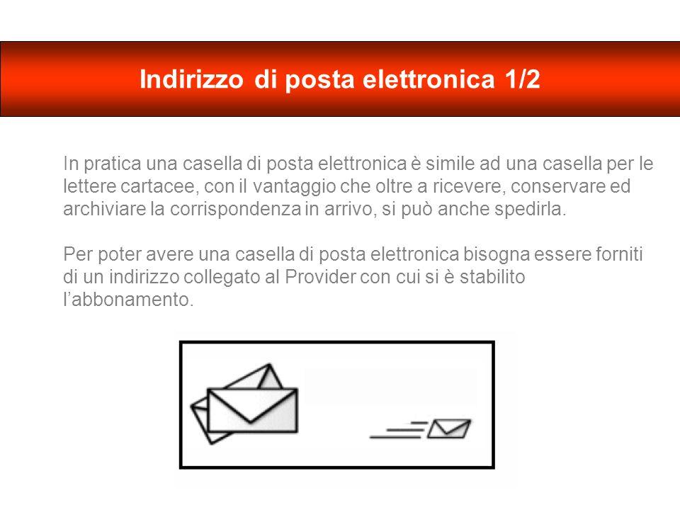 Un indirizzo di posta elettronica di solito è fatto così: nome@provider.it - Il nome è quello che ci siamo scelti nel momento in cui abbiamo fatto labbonamento (es.