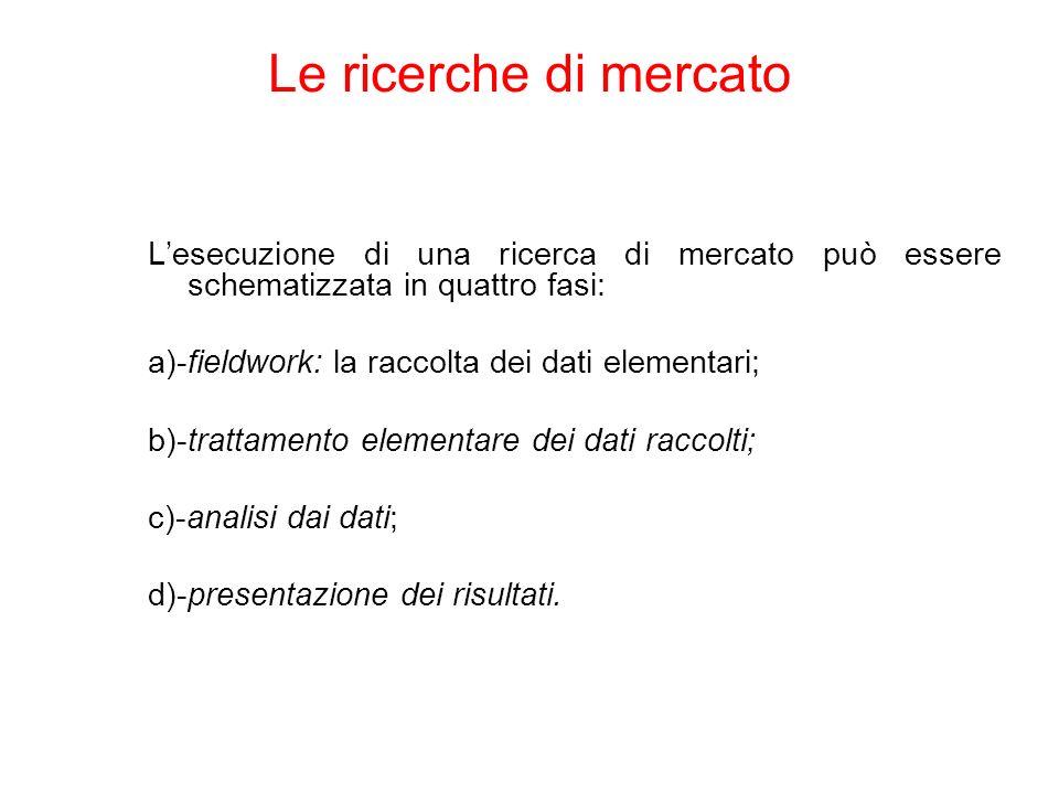 Lesecuzione di una ricerca di mercato può essere schematizzata in quattro fasi: a)-fieldwork: la raccolta dei dati elementari; b)-trattamento elementa