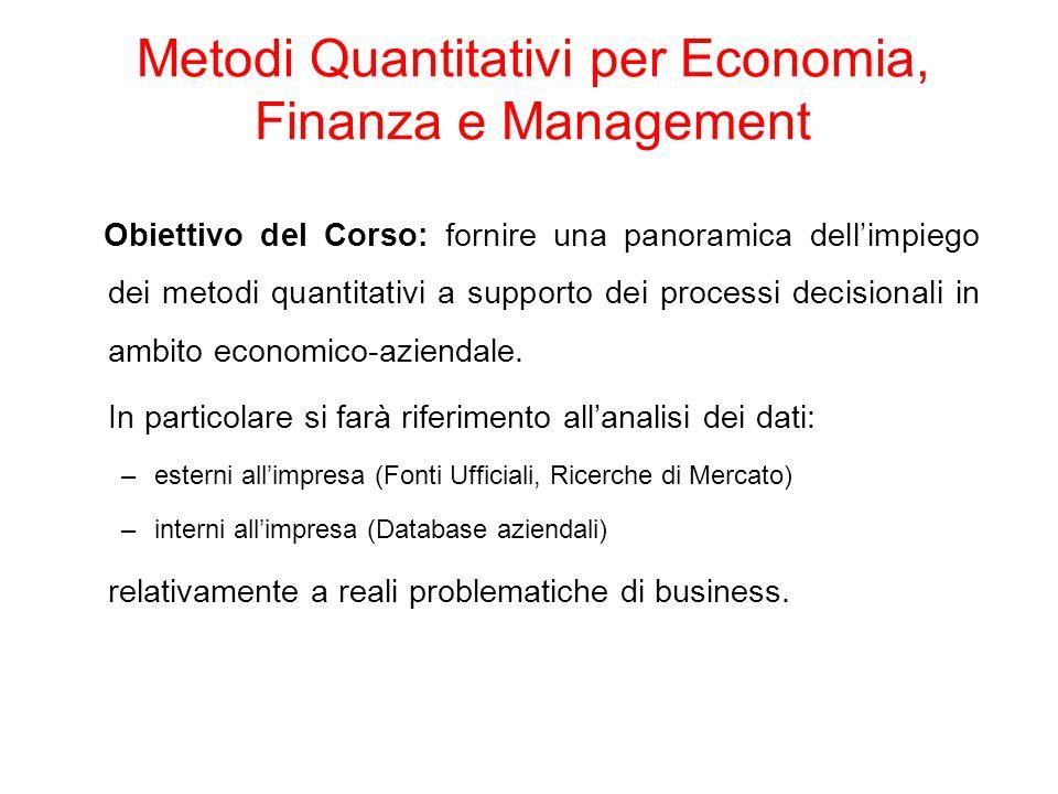 Metodi Quantitativi per Economia, Finanza e Management Obiettivo del Corso: fornire una panoramica dellimpiego dei metodi quantitativi a supporto dei