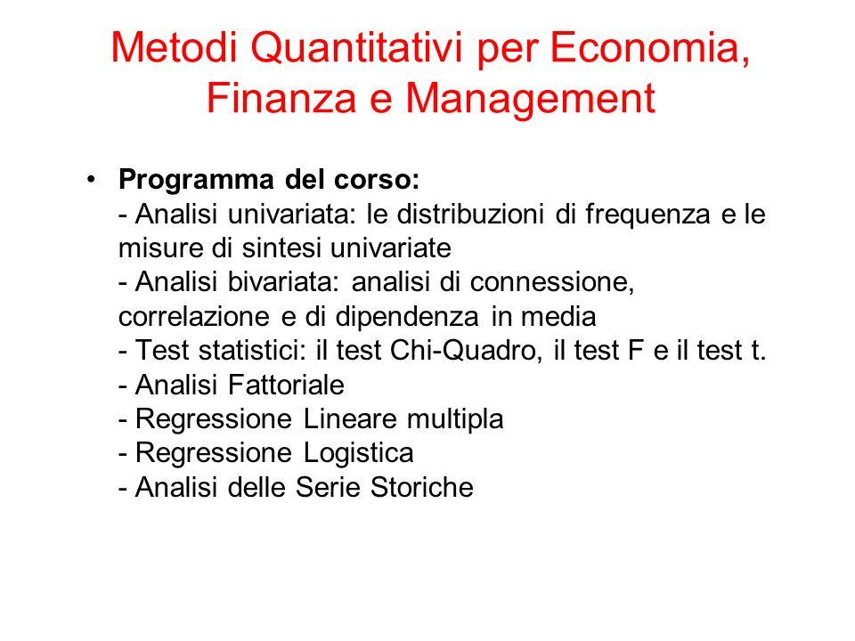 Programma del corso: - Analisi univariata: le distribuzioni di frequenza e le misure di sintesi univariate - Analisi bivariata: analisi di connessione