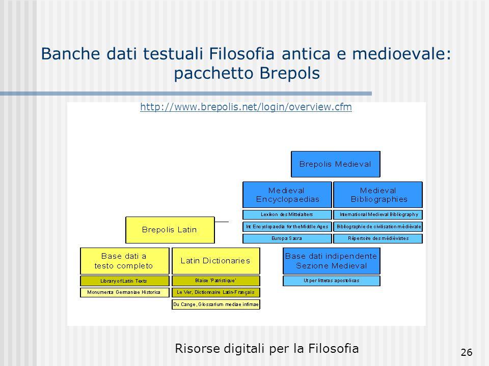 Risorse digitali per la Filosofia 26 Banche dati testuali Filosofia antica e medioevale: pacchetto Brepols http://www.brepolis.net/login/overview.cfm