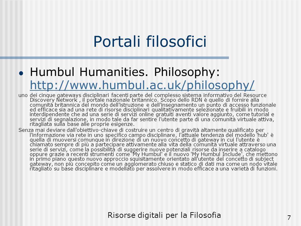 Risorse digitali per la Filosofia 7 Portali filosofici Humbul Humanities.