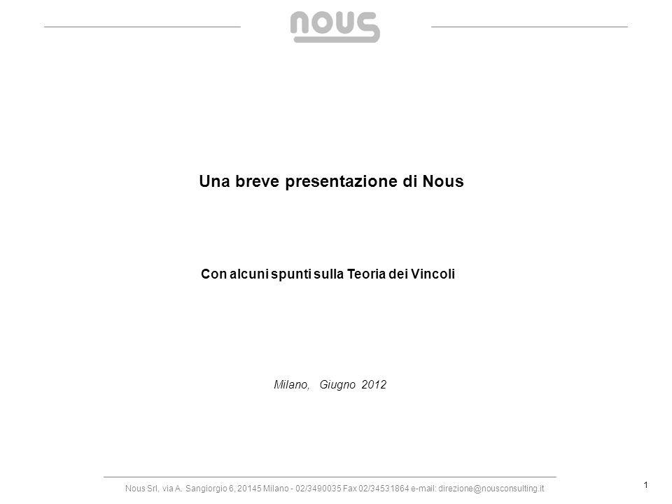 Nous Srl, via A. Sangiorgio 6, 20145 Milano - 02/3490035 Fax 02/34531864 e-mail: direzione@nousconsulting.it 1 Una breve presentazione di Nous Con alc