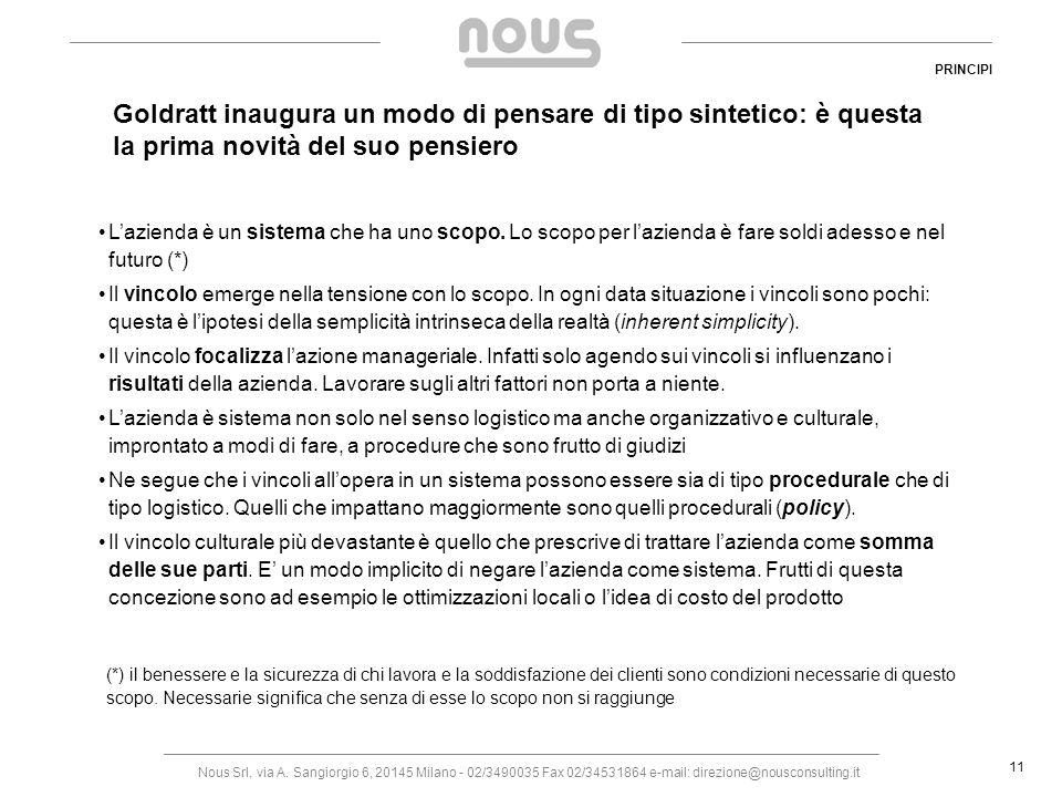 Nous Srl, via A. Sangiorgio 6, 20145 Milano - 02/3490035 Fax 02/34531864 e-mail: direzione@nousconsulting.it 11 Goldratt inaugura un modo di pensare d