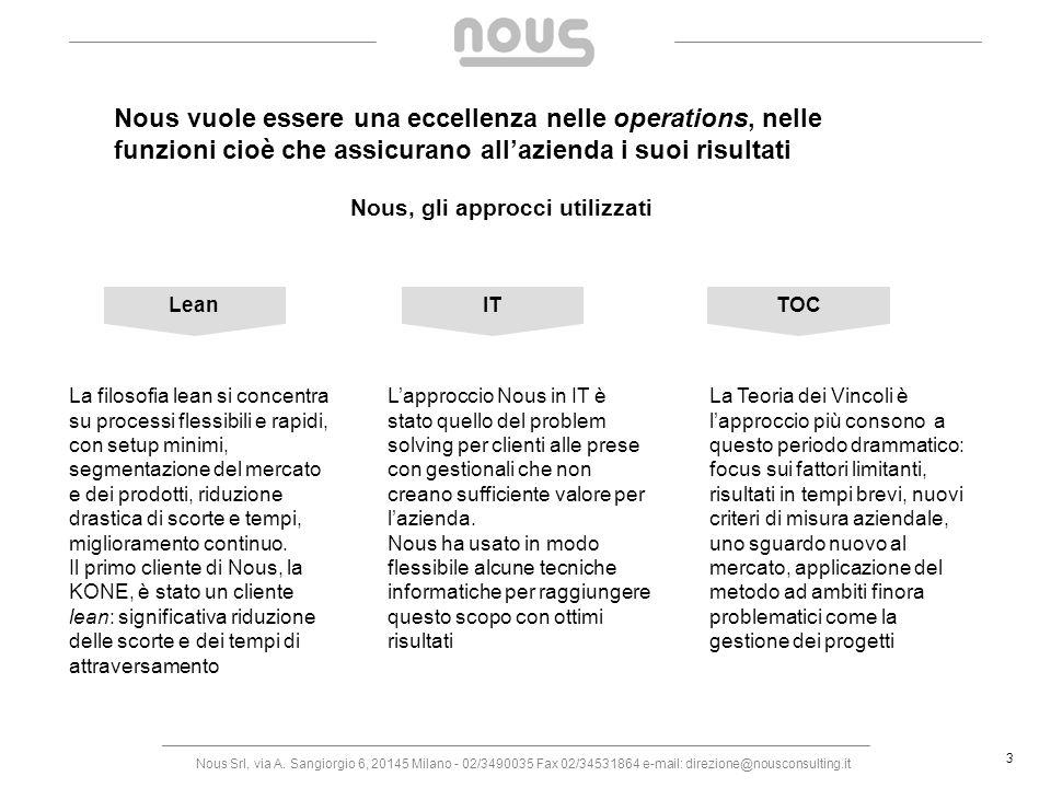 Nous Srl, via A. Sangiorgio 6, 20145 Milano - 02/3490035 Fax 02/34531864 e-mail: direzione@nousconsulting.it 3 Nous vuole essere una eccellenza nelle