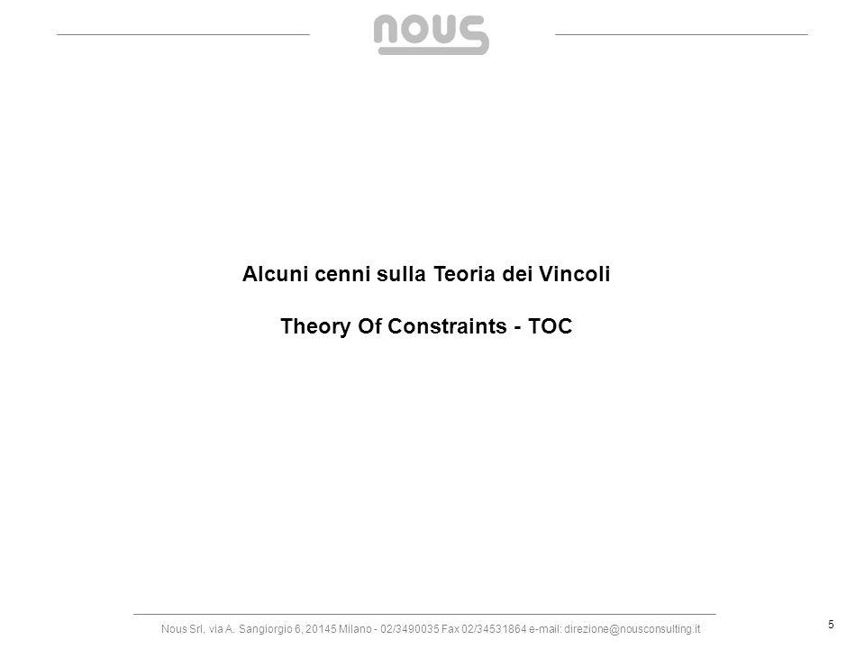 Nous Srl, via A. Sangiorgio 6, 20145 Milano - 02/3490035 Fax 02/34531864 e-mail: direzione@nousconsulting.it 5 Alcuni cenni sulla Teoria dei Vincoli T