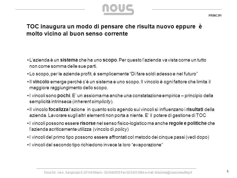 Nous Srl, via A. Sangiorgio 6, 20145 Milano - 02/3490035 Fax 02/34531864 e-mail: direzione@nousconsulting.it 6 TOC inaugura un modo di pensare che ris