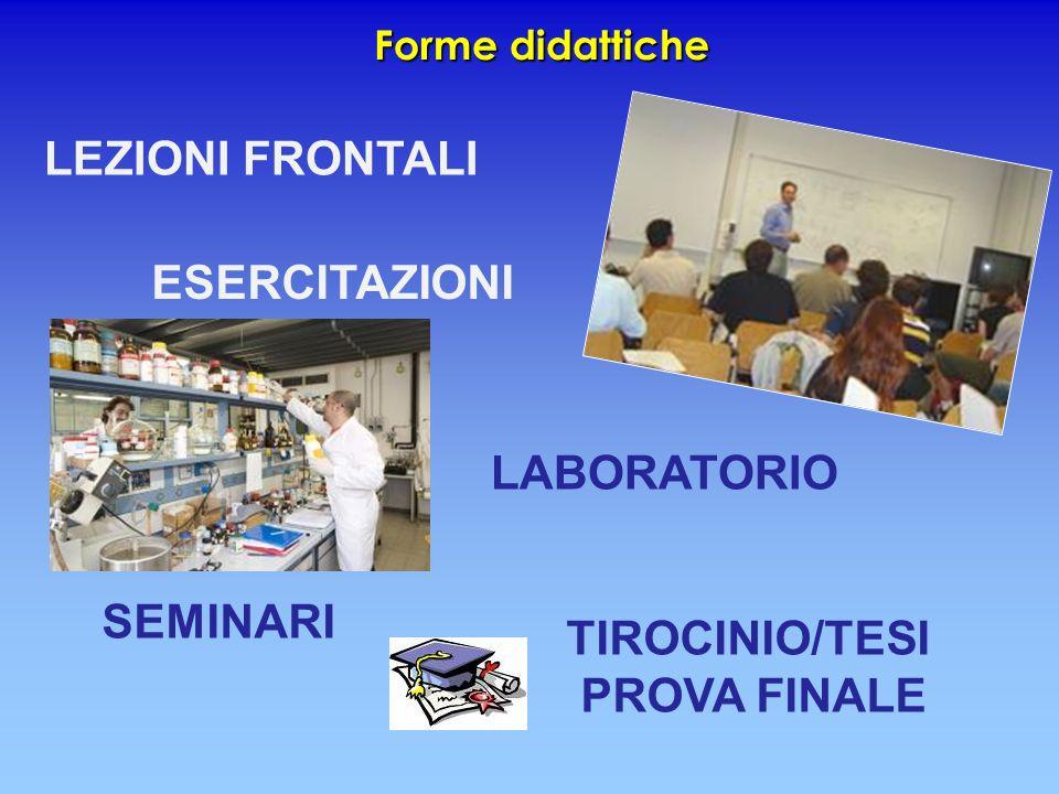 Forme didattiche LEZIONI FRONTALI ESERCITAZIONI SEMINARI LABORATORIO TIROCINIO/TESI PROVA FINALE