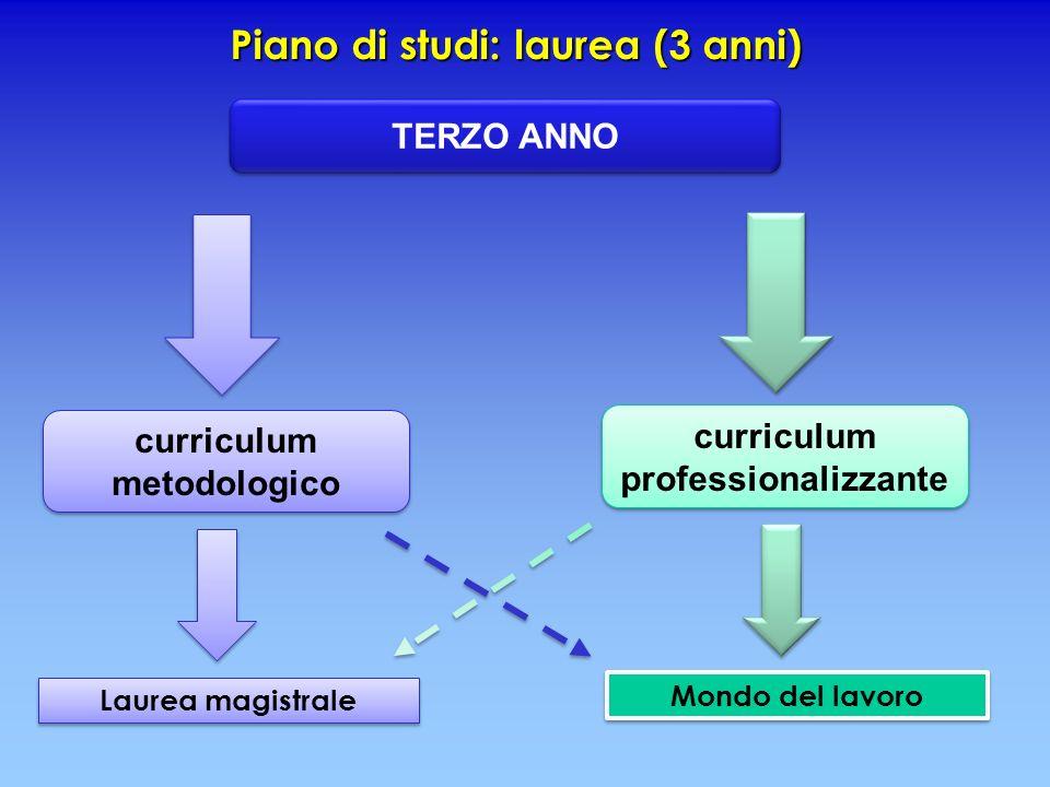 Piano di studi: laurea (3 anni) Laurea magistrale Mondo del lavoro TERZO ANNO curriculum metodologico curriculum metodologico curriculum professionali