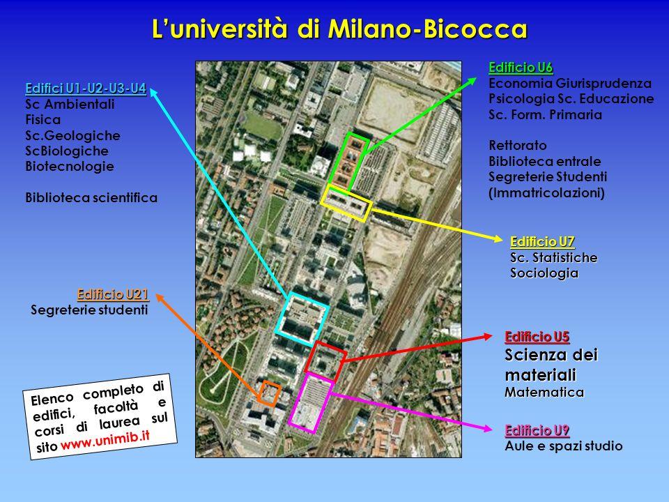 Luniversità di Milano-Bicocca Edificio U6 Edificio U6 Economia Giurisprudenza Psicologia Sc. Educazione Sc. Form. Primaria Rettorato Biblioteca entral