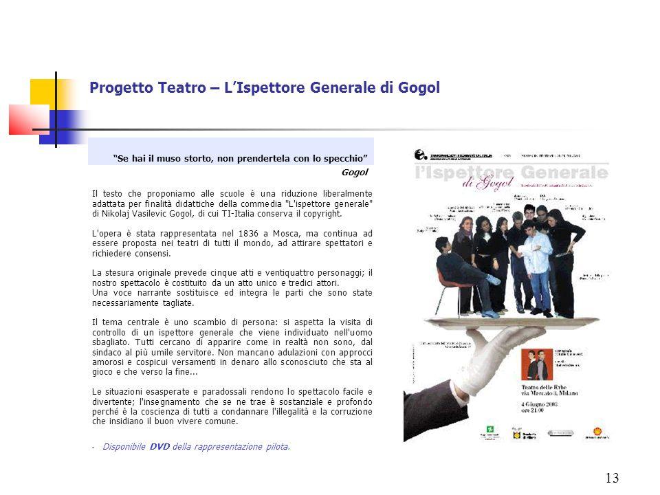 13 Progetto Teatro – LIspettore Generale di Gogol Il testo che proponiamo alle scuole è una riduzione liberalmente adattata per finalità didattiche de