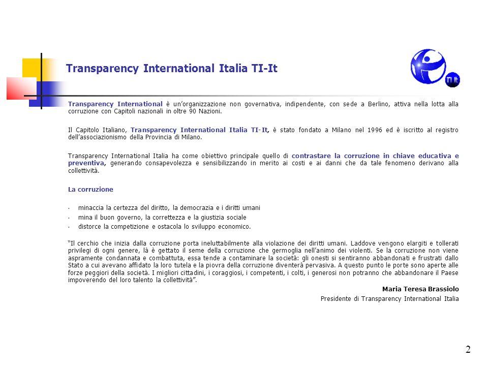 2 Transparency International Italia TI-It Transparency International è unorganizzazione non governativa, indipendente, con sede a Berlino, attiva nell
