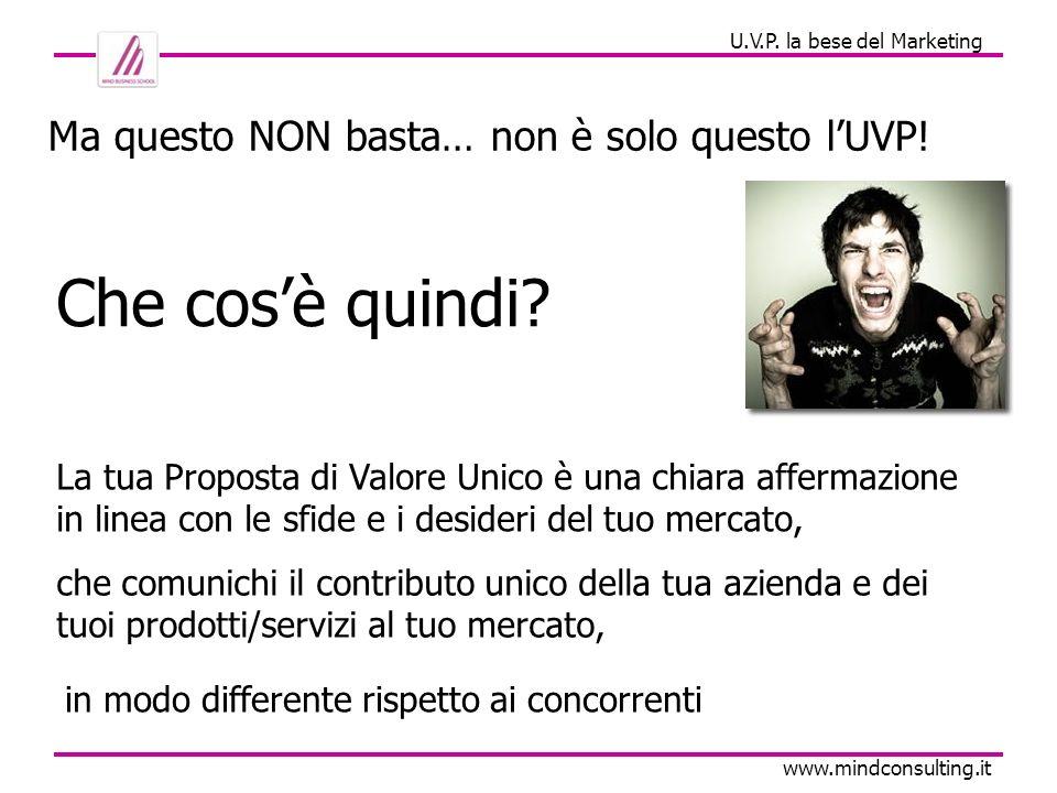 U.V.P. la bese del Marketing www.mindconsulting.it La tua Proposta di Valore Unico è una chiara affermazione in linea con le sfide e i desideri del tu