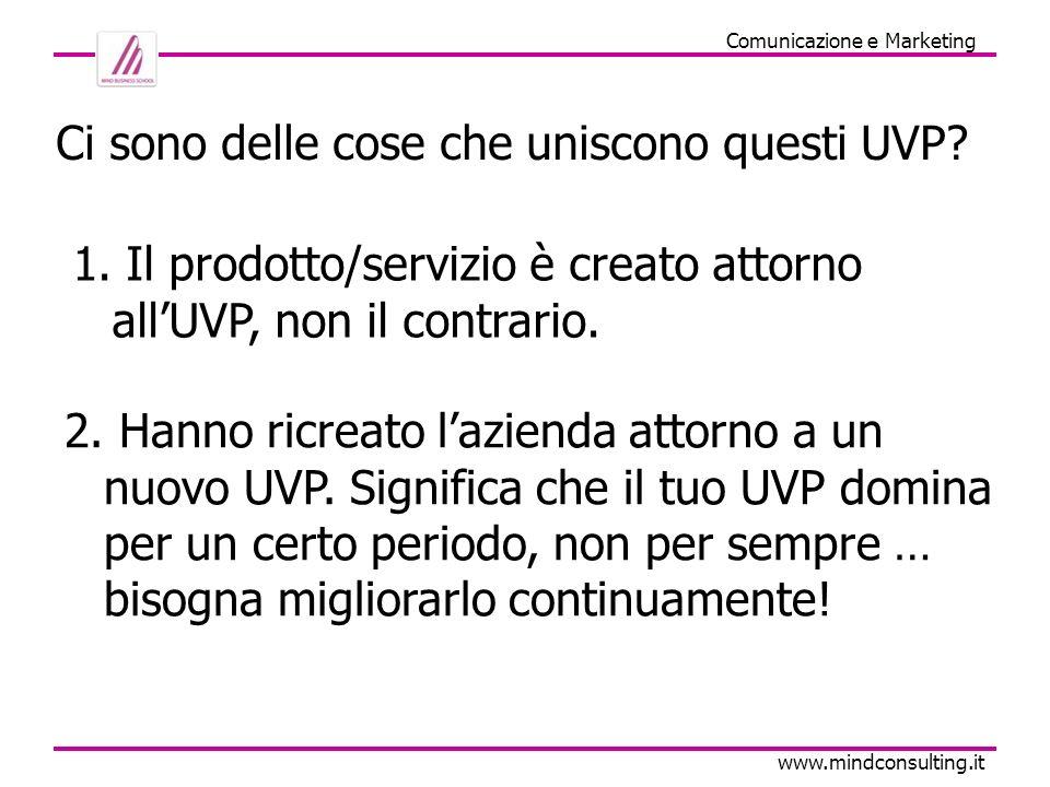 Comunicazione e Marketing www.mindconsulting.it Ci sono delle cose che uniscono questi UVP? 1. Il prodotto/servizio è creato attorno allUVP, non il co