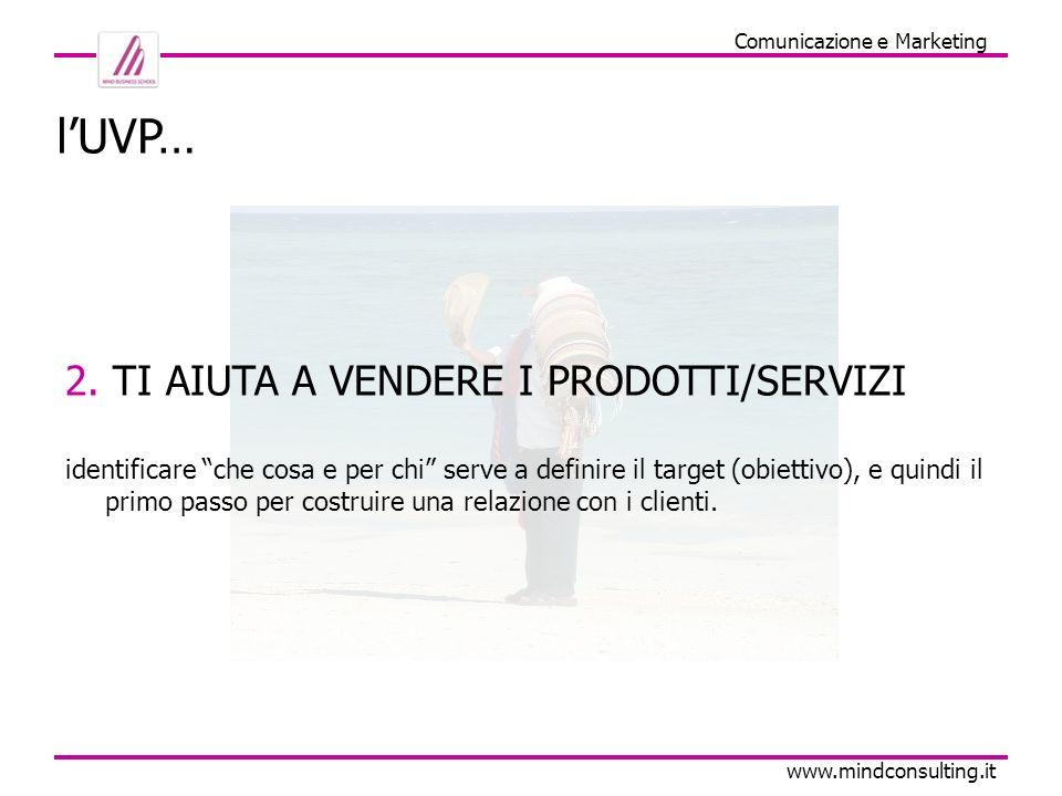 Comunicazione e Marketing www.mindconsulting.it 2. TI AIUTA A VENDERE I PRODOTTI/SERVIZI identificare che cosa e per chi serve a definire il target (o