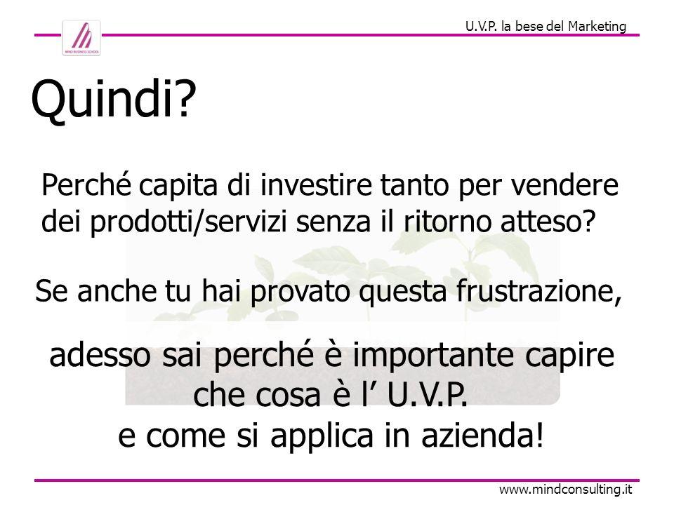 U.V.P. la bese del Marketing www.mindconsulting.it Quindi? Se anche tu hai provato questa frustrazione, Perché capita di investire tanto per vendere d