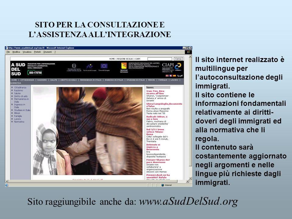 SITO PER LA CONSULTAZIONE E LASSISTENZA ALLINTEGRAZIONE Il sito internet realizzato è multilingue per lautoconsultazione degli immigrati. Il sito cont