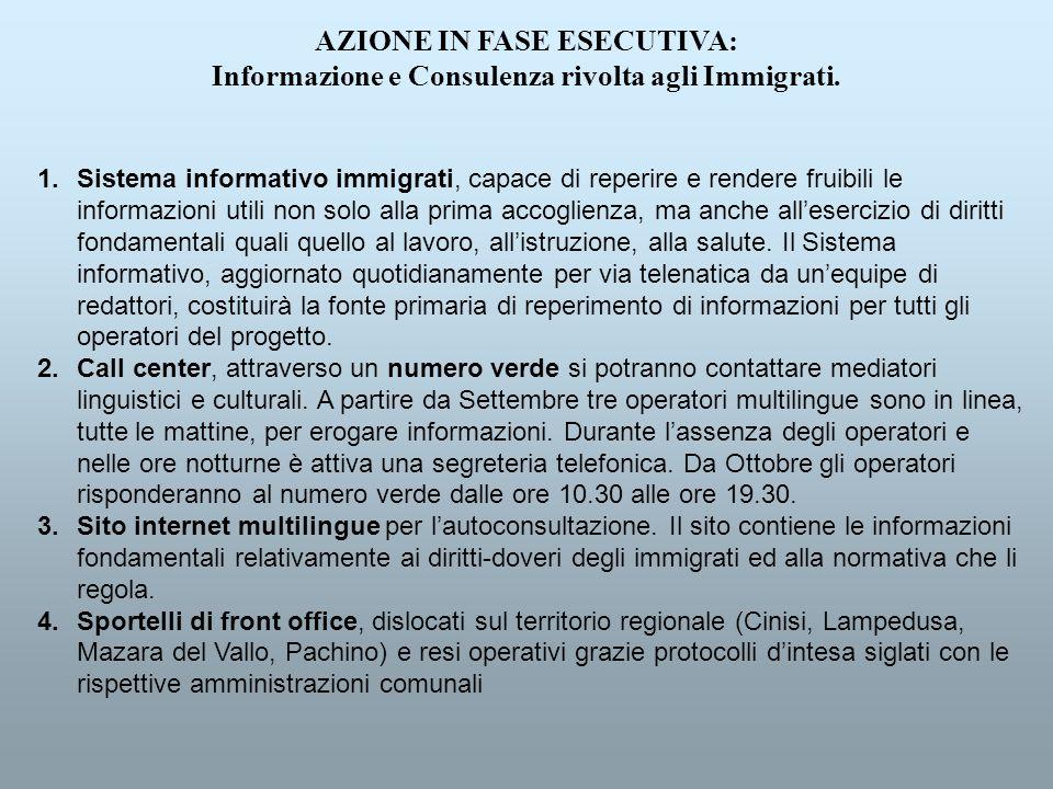 AZIONE IN FASE ESECUTIVA: Informazione e Consulenza rivolta agli Immigrati. 1.Sistema informativo immigrati, capace di reperire e rendere fruibili le