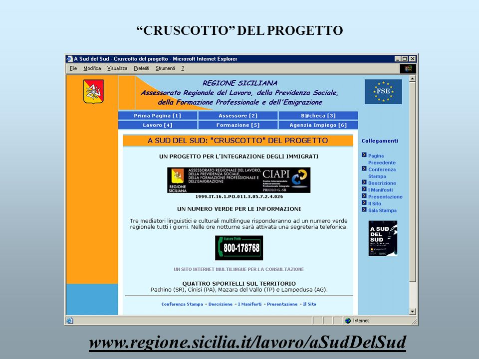CRUSCOTTO DEL PROGETTO www.regione.sicilia.it/lavoro/aSudDelSud