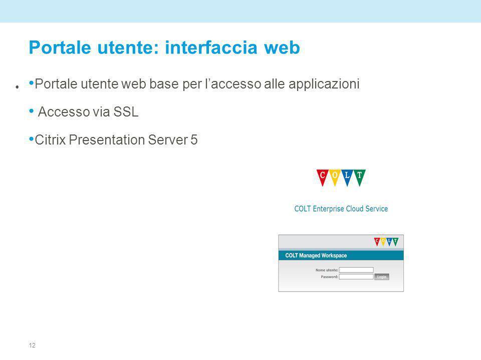 12 Portale utente: interfaccia web Portale utente web base per laccesso alle applicazioni Accesso via SSL Citrix Presentation Server 5
