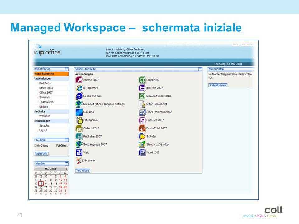 13 Managed Workspace – schermata iniziale