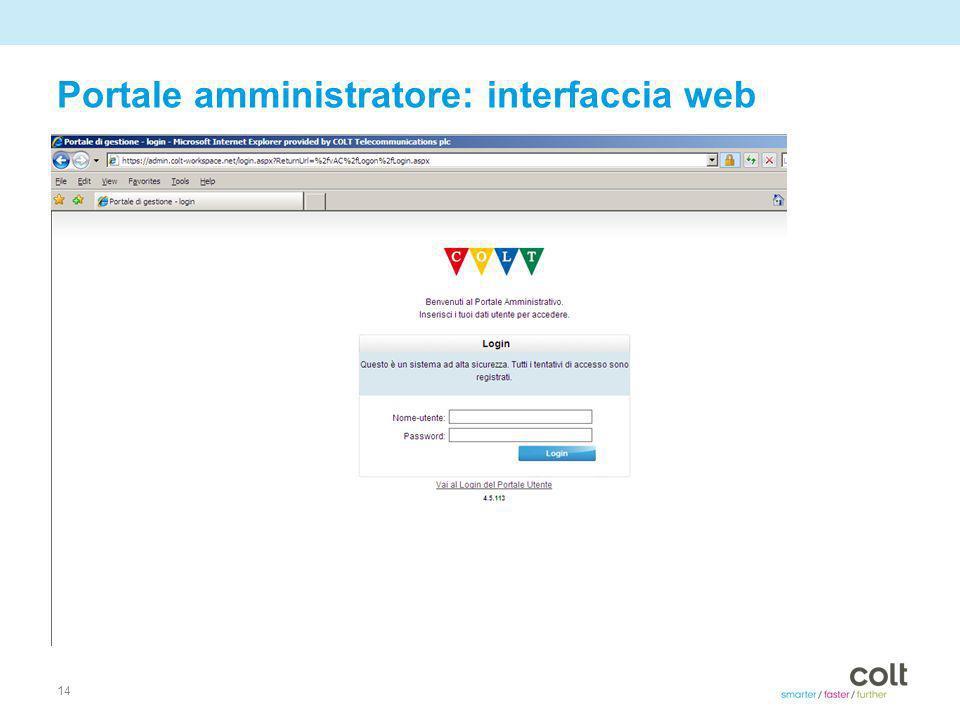 14 Portale amministratore: interfaccia web