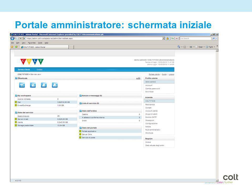 15 Portale amministratore: schermata iniziale