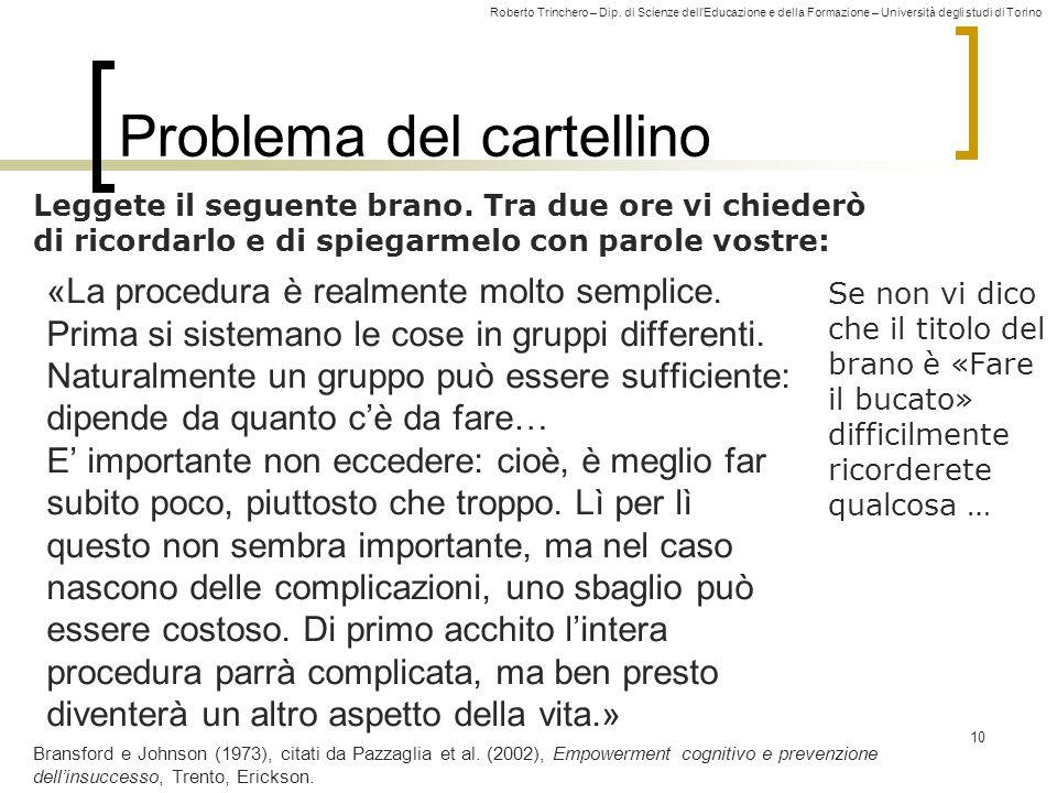 Roberto Trinchero – Dip. di Scienze dellEducazione e della Formazione – Università degli studi di Torino Problema del cartellino «La procedura è realm