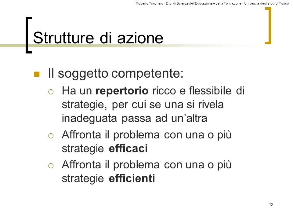 Roberto Trinchero – Dip. di Scienze dellEducazione e della Formazione – Università degli studi di Torino 12 Strutture di azione Il soggetto competente