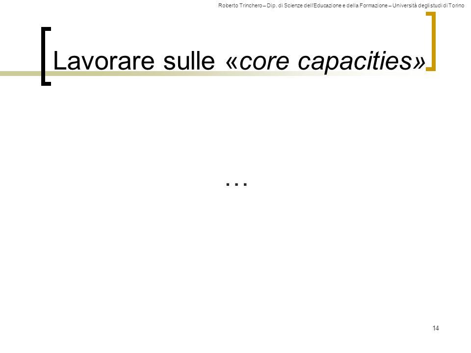 Roberto Trinchero – Dip. di Scienze dellEducazione e della Formazione – Università degli studi di Torino Lavorare sulle «core capacities» 14 …