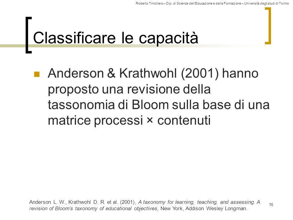 Roberto Trinchero – Dip. di Scienze dellEducazione e della Formazione – Università degli studi di Torino 16 Classificare le capacità Anderson & Krathw