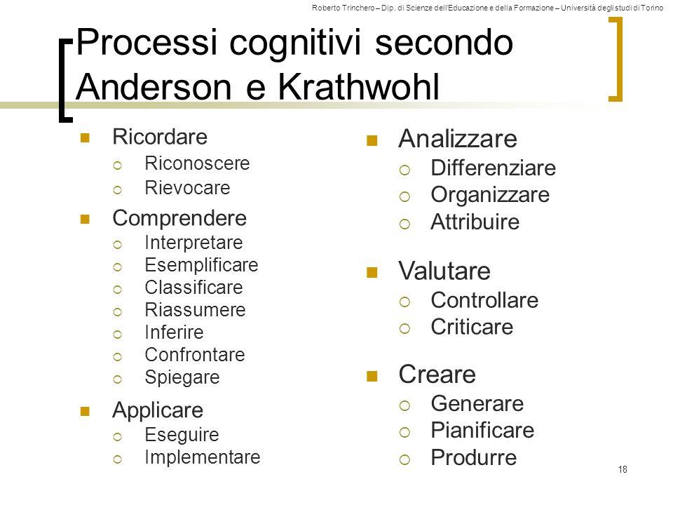Roberto Trinchero – Dip. di Scienze dellEducazione e della Formazione – Università degli studi di Torino 18 Processi cognitivi secondo Anderson e Krat