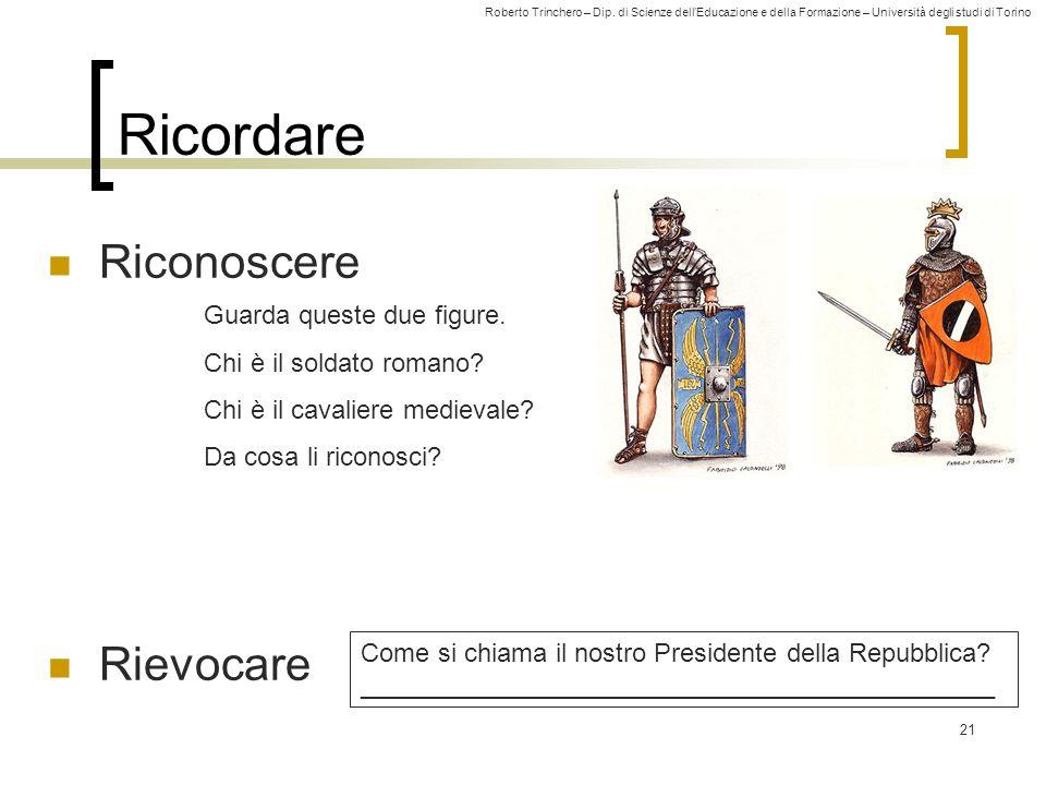 Roberto Trinchero – Dip. di Scienze dellEducazione e della Formazione – Università degli studi di Torino 21 Ricordare Riconoscere Rievocare Come si ch