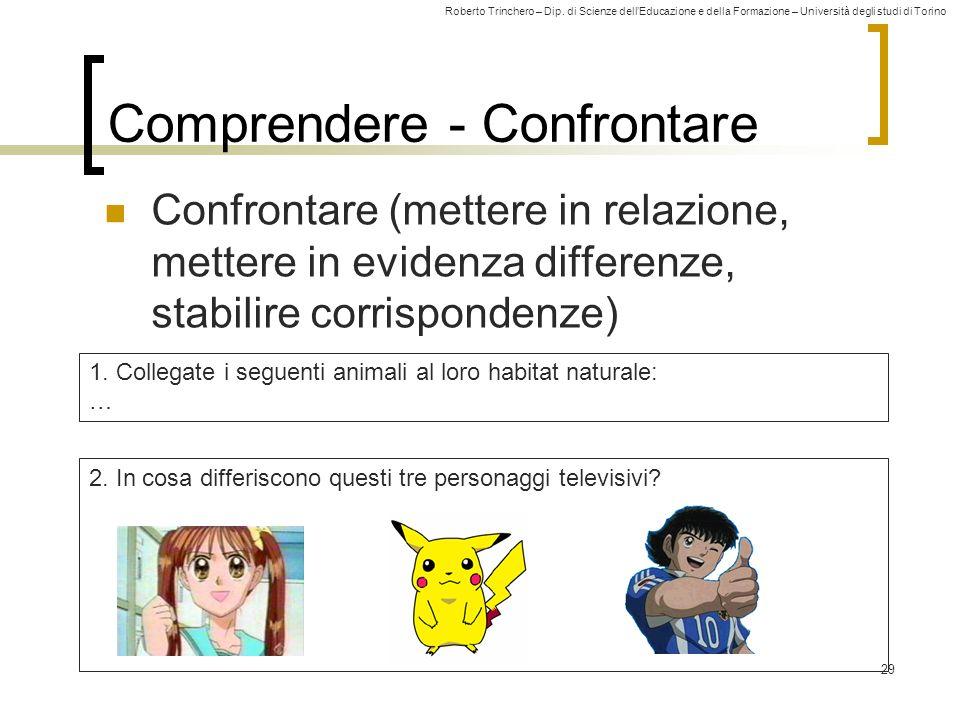 Roberto Trinchero – Dip. di Scienze dellEducazione e della Formazione – Università degli studi di Torino 29 Comprendere - Confrontare Confrontare (met