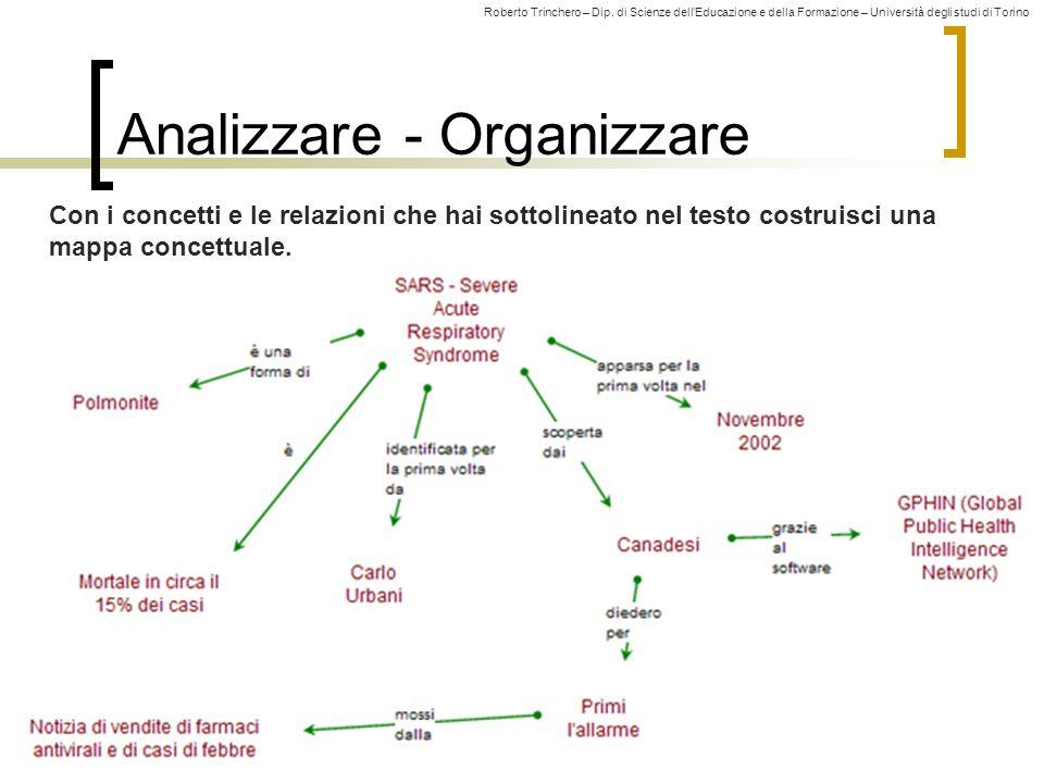 Roberto Trinchero – Dip. di Scienze dellEducazione e della Formazione – Università degli studi di Torino Analizzare - Organizzare 38 Con i concetti e