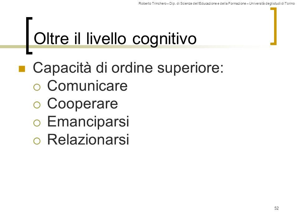 Roberto Trinchero – Dip. di Scienze dellEducazione e della Formazione – Università degli studi di Torino 52 Oltre il livello cognitivo Capacità di ord
