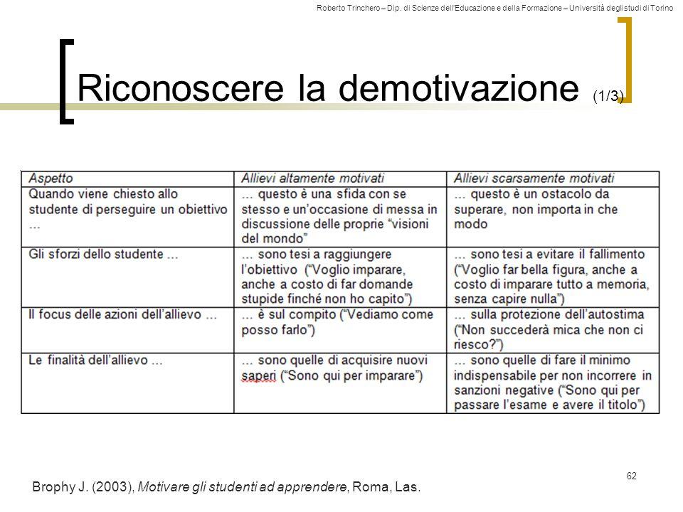 Roberto Trinchero – Dip. di Scienze dellEducazione e della Formazione – Università degli studi di Torino Riconoscere la demotivazione (1/3) 62 Brophy