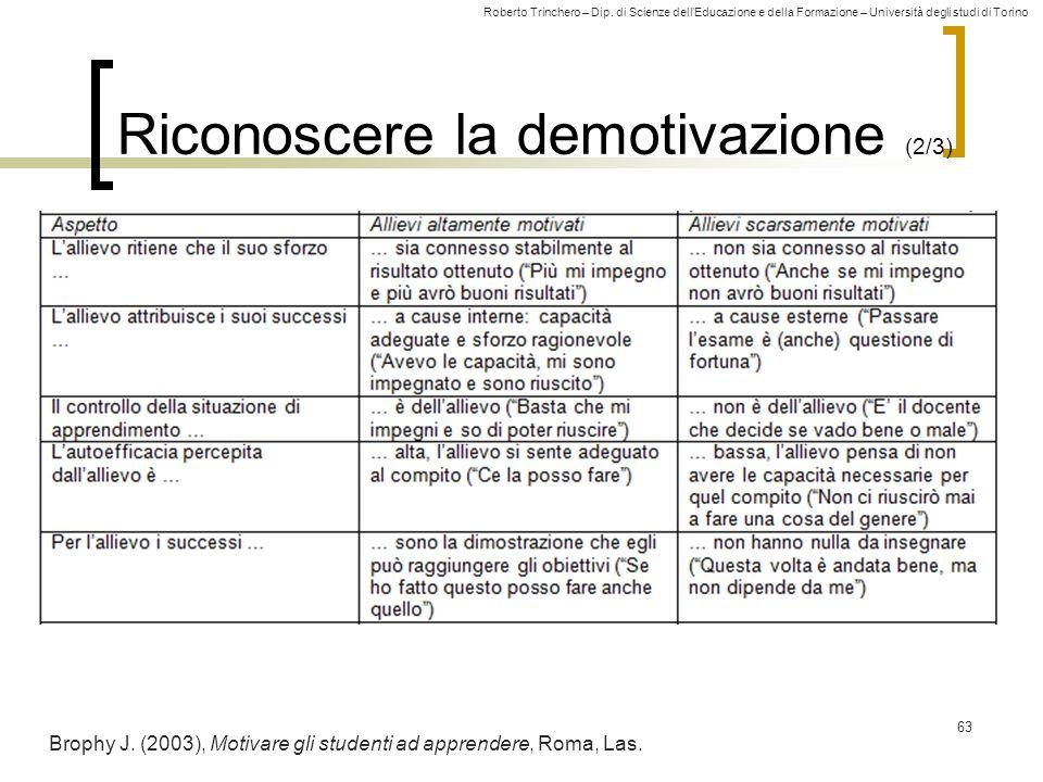 Roberto Trinchero – Dip. di Scienze dellEducazione e della Formazione – Università degli studi di Torino Riconoscere la demotivazione (2/3) 63 Brophy