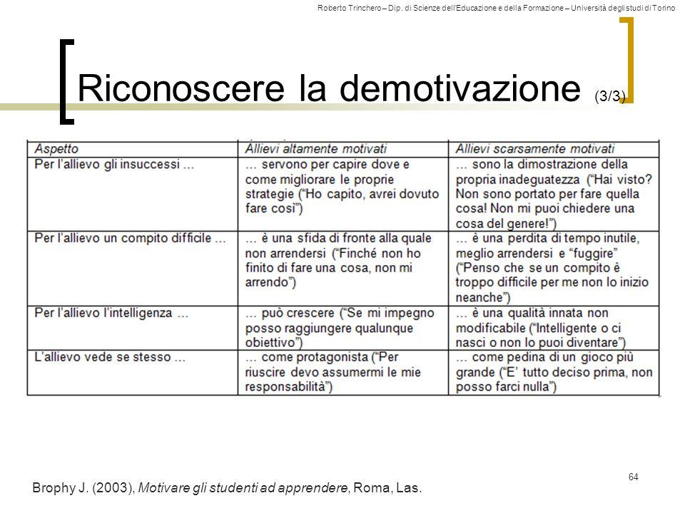 Roberto Trinchero – Dip. di Scienze dellEducazione e della Formazione – Università degli studi di Torino Riconoscere la demotivazione (3/3) 64 Brophy