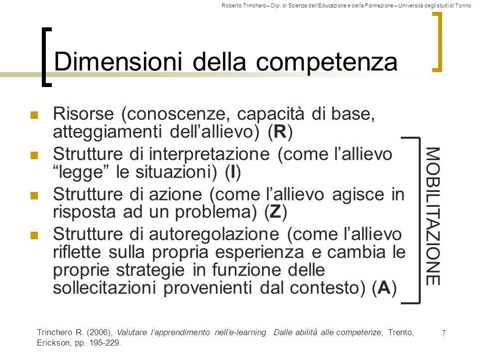 Roberto Trinchero – Dip. di Scienze dellEducazione e della Formazione – Università degli studi di Torino 7 Dimensioni della competenza Risorse (conosc