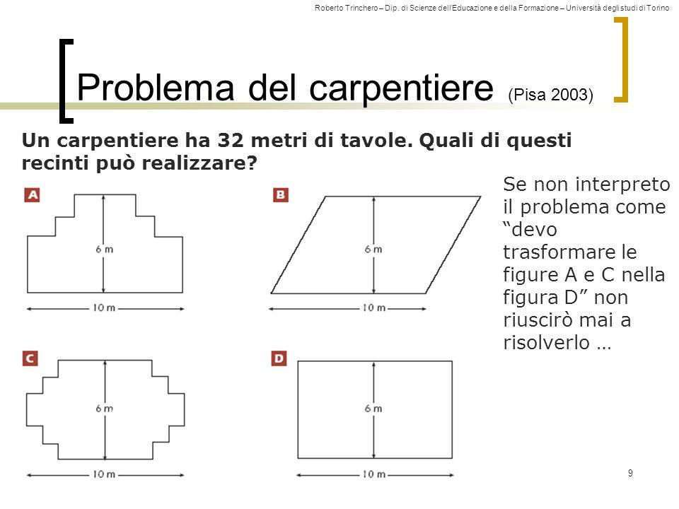 Roberto Trinchero – Dip. di Scienze dellEducazione e della Formazione – Università degli studi di Torino 9 Problema del carpentiere (Pisa 2003) Un car