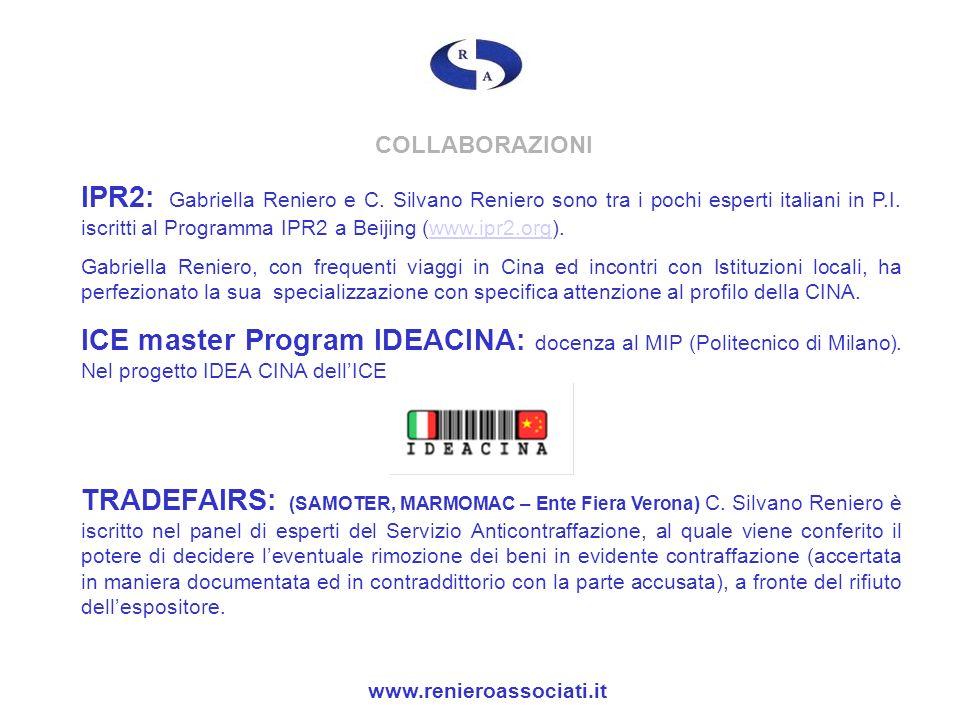 COLLABORAZIONI IPR2: Gabriella Reniero e C. Silvano Reniero sono tra i pochi esperti italiani in P.I. iscritti al Programma IPR2 a Beijing (www.ipr2.o