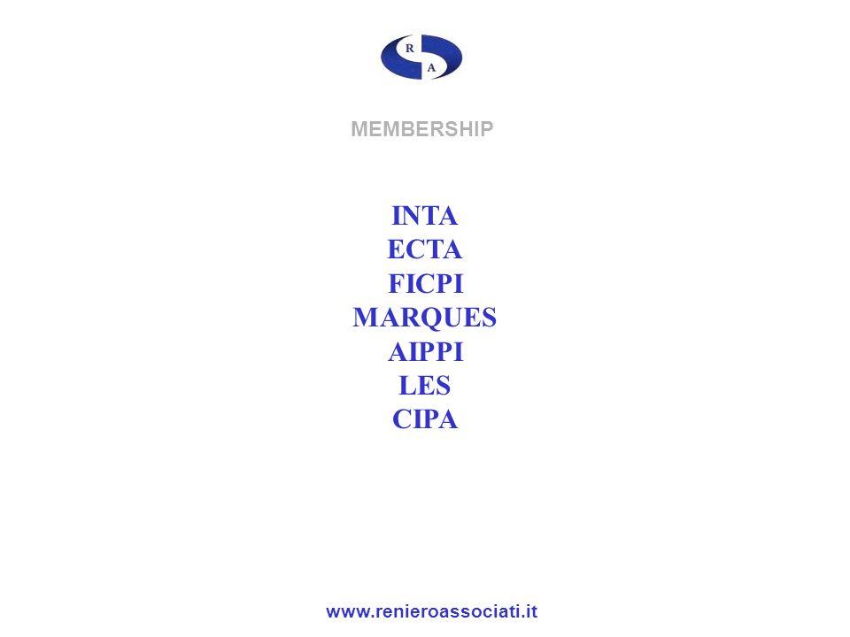 MEMBERSHIP INTA ECTA FICPI MARQUES AIPPI LES CIPA www.renieroassociati.it