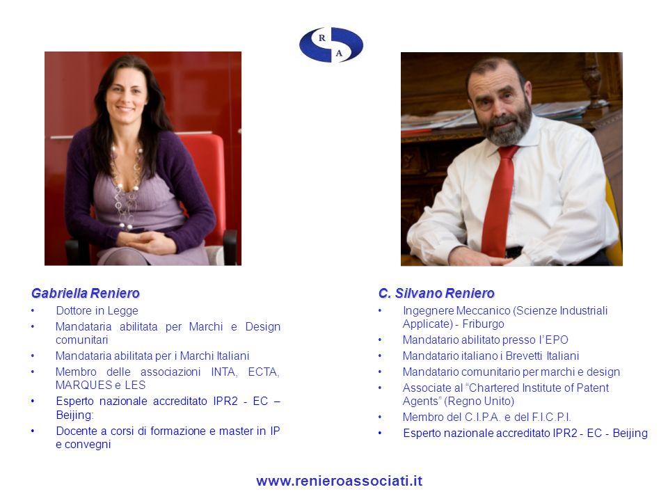 Gabriella Reniero Dottore in Legge Mandataria abilitata per Marchi e Design comunitari Mandataria abilitata per i Marchi Italiani Membro delle associa