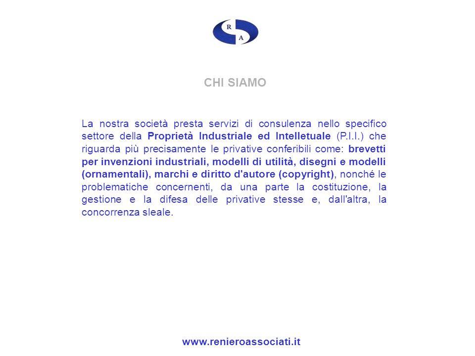CHI SIAMO La nostra società presta servizi di consulenza nello specifico settore della Proprietà Industriale ed Intelletuale (P.I.I.) che riguarda più