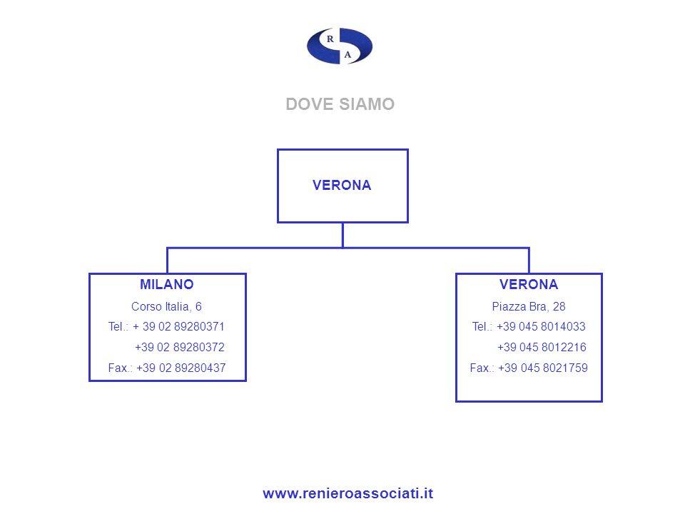 DOVE SIAMO VERONA MILANO Corso Italia, 6 Tel.: + 39 02 89280371 +39 02 89280372 Fax.: +39 02 89280437 VERONA Piazza Bra, 28 Tel.: +39 045 8014033 +39