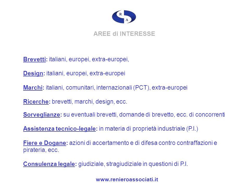 AREE di INTERESSE Brevetti: italiani, europei, extra-europei, Design: italiani, europei, extra-europei Marchi: italiani, comunitari, internazionali (P