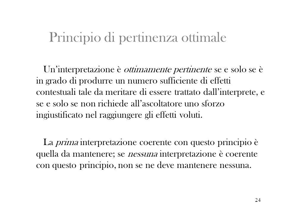 24 Principio di pertinenza ottimale Uninterpretazione è ottimamente pertinente se e solo se è in grado di produrre un numero sufficiente di effetti co